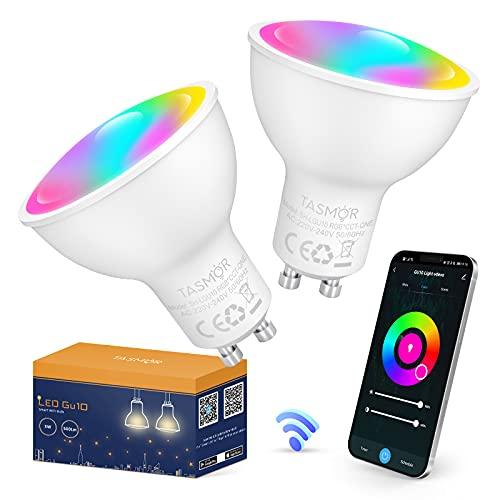 Tasmor GU10 LED Ampoule Connectée compatible avec Alexa et Google Home, 5W Equivalent à 50W, Ampoule Dimmable Couleur WiFi GU10 RGB 2700-6500K Blanc Chaud et Blanc Froid 500LM, 2 PACK