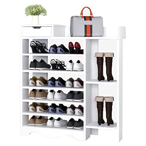 Zapatero Rack de zapatos multifunción de 7 niveles Rack de almacenamiento vertical for el hogar con compartimiento de almacenamiento de arranque y 1 estante de zapatos de cajón (color natural marrón b