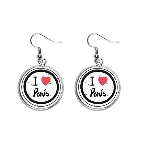 Ik hou van Parijs Woorden Patroon Oor Dangle Zilver Drop Oorbel Sieraden Vrouw