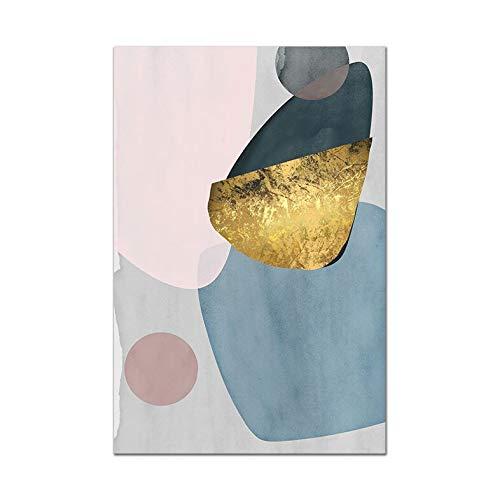 Póster geométrico luna pintura en lienzo planta abstracta arte de la pared familia sin marco impresión decorativa pintura en lienzo C 30x40 cm