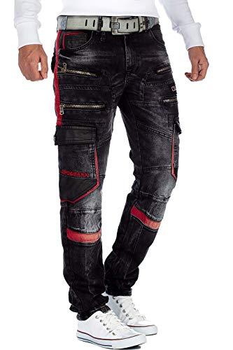 Cipo & Baxx Pantalones vaqueros para hombre con cremallera y piel sintética. Negro 29W x 32L