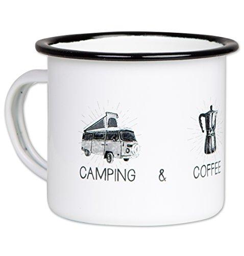 Camping Coffee Campfire - Hochwertige Emaille Tasse mit Outdoor Design, leicht und bruchsicher, für Camper - von MUGSY.de