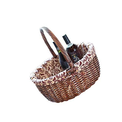 BANGSUN Picknickkorb für den Außenbereich, gefüttert, Flaschenhalter, handgefertigt, Weidenkorb, tragbar