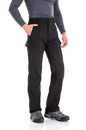 TRAILSIDE SUPPLY CO. Men's Fleece Lined Insulated Pants Softshell Pants,Water and Wind-Resistant Black Size Large