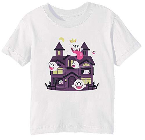 Erido Fantôme Maison Enfants Unisexe Garçon Filles T-Shirt Cou D'équipage Blanc Coton Manches Courtes Taille 3XS Kids Boys Girls T-Shirt XXX-Small Size 3XS
