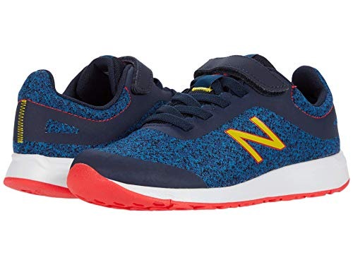 New Balance 455v2 Hook and Loop Running Shoe, Rogue Wave/Energy Red/Atomic Yellow, 2 US Unisex Little Kid