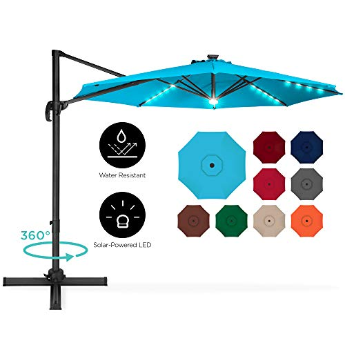 Best Choice Products 10ft 360-Degree LED Cantilever Offset Hanging Market Patio Umbrella w/Easy Tilt - Light Blue