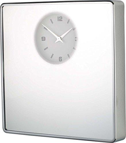 Balvi 22647 – Miroir + Horloge Murale chromé, 32 x 32 cm