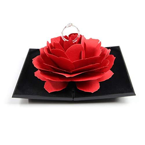 Caroline Philipson 3D-Elegante Ringe-Kasten-Hochzeit Verlobungsring Rosen-Blumen-Geschenk-Boxen für Schmuck-Anzeigen-Speicher-Halter-Dekor