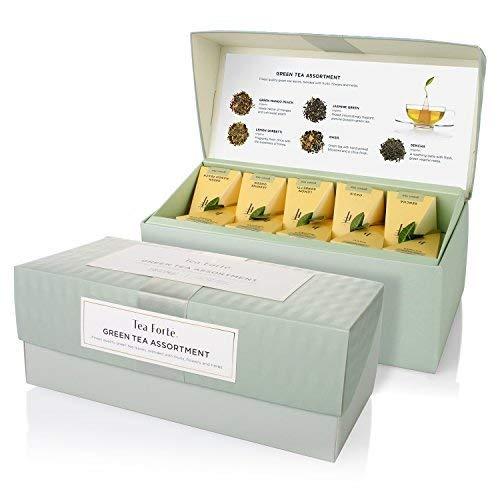 Tea Forte Presentation Box Tea Sampler, Assorted Variety Tea Box, 20 Handcrafted Pyramid Tea Infuser Bag, Green Tea Assortment