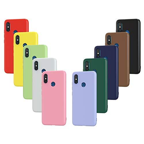 ivoler 10 x Funda para Xiaomi Mi 8 / Xiaomi Mi 8 Pro, Ultra Fina Carcasa Silicona TPU Protector Flexible Funda (Negro, Blanco, Azul, Verde, Verde Oscuro, Rosa, Rojo, Amarillo, Marrón, Púrpura)