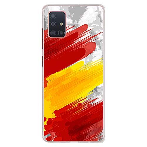 BJJ SHOP Funda Transparente para [ Samsung Galaxy A51 ], Carcasa de Silicona Flexible TPU, diseño: Bandera españa, Pintura de brocha sobre Fondo Abstracto