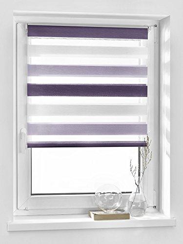 Vidella Doppelrollo zebra 3color Fenstermontage 75 cm, weiß / hell lila / dunkel lila, ZTC-4 75