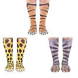 Cosweet 3 pairs Animal Paw Socks 3D Print Funny Animal Feet Socks Tiger Cat Leopard Paw Socks