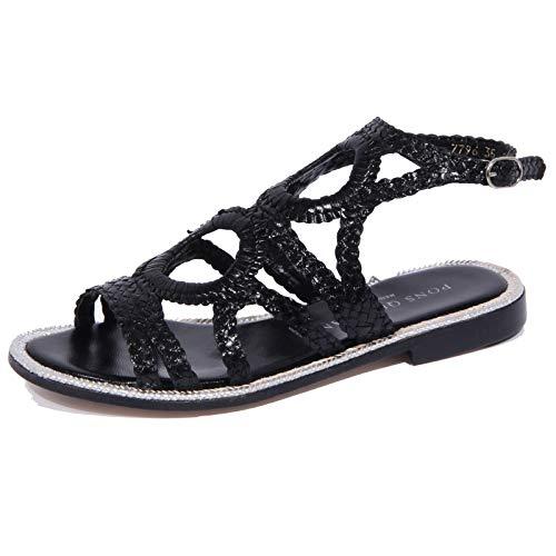 1992J Sandalo Donna Black PONS QUINTANA Diana intrecciato Braided Shoe Woman