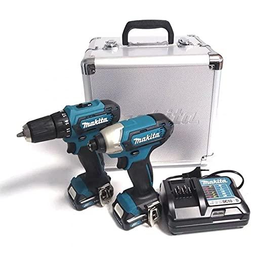 Makita CLX224X CLX224X-Taladro Atornillador + Destornillador de Impacto + 2 baterías 12 V 1,5 Ah Li-Ion + Estuche