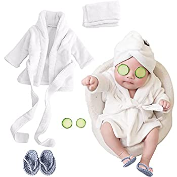 SPOKKI Newborn Photography Props Baby Girl 5 PCS Bathrobes Bath Towel Outfit with Slippers Cucumber Photo Props for Infant Boys Girls 0-6 Months   White