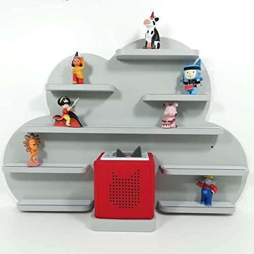 Tonie Regal, Wolke in grau mit grauen Regalen, ideale Aufbewahrung für Tonie Box und Tonie Figuren, Kinderzimmer Regal, Deko Board, Musikboxaufbewahrung, Hängeregal