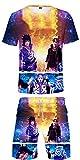 Silver Basic Niños Impresos en 3D Naruto Camiseta y Pantalones Chándal Ropa Deportiva Camiseta Moda Naruto Uniforme Cosplay Top y Pantalones Cortos Traje M,Uchiha Sasuke&Naruto-3