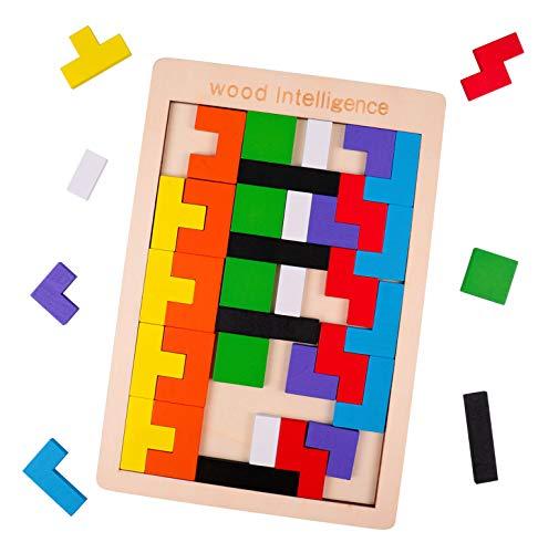 Rolimate Houten puzzel Hersenkrakers Houten Tetris-puzzel, Intelligentiespeelgoed STEM Montessori Educatief verjaardagscadeau voor 3 4 5+ jaar Jongensmeisje Peuter, 3D-blokken Voorschools spel 40 PCS