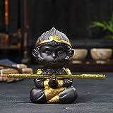 Chinese Purple Clay Kung Fu Tea Set Monkey King Tea Pet for Home Tea Tray Decoration (D)
