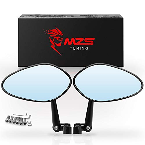 MZS Universal Motorcycle Mirrors | Rear View Mirror Side Adjustable 8MM 10MM CNC Black Compatible with Street Dirt Bike Quad Adventure Scooter Coolster Moped GY6 Cruiser ATV