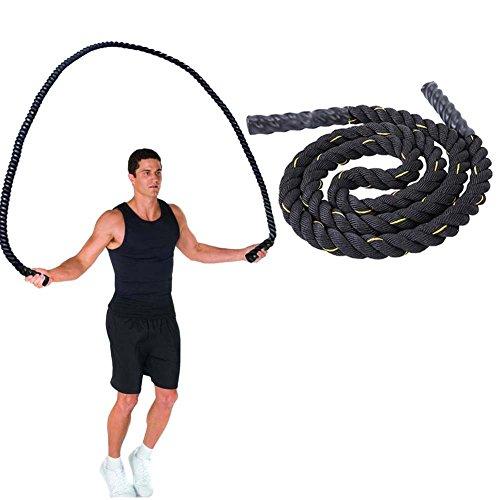 DOBEN Cuerda de Batalla – 3 m x 25 mm/38 mm/50 mm – Cuerda de Entrenamiento de Fuerza Corporal – Cuerda de Entrenamiento de Fitness – Cuerda de Salto Pesado, 50MM-Black, 50MM-Black