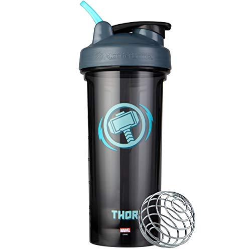 BlenderBottle Marvel Shaker Bottle Pro Series Perfeito para shake de proteína e pré-treino, 800 ml, martelo do Thor