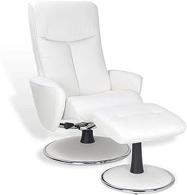 MND MY NEW DESIGN, NEPHOS, Fauteuil Design Original et Confortable, avec appuie-tête et siège réglables (Blanc, Cuir)
