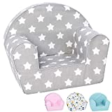 DELSIT Toddler Chair & Kids Armchair - European Made Premium Quality - Perfect Reading Chair for Kids - Lightweight Playroom Decor (Gray with Stars)