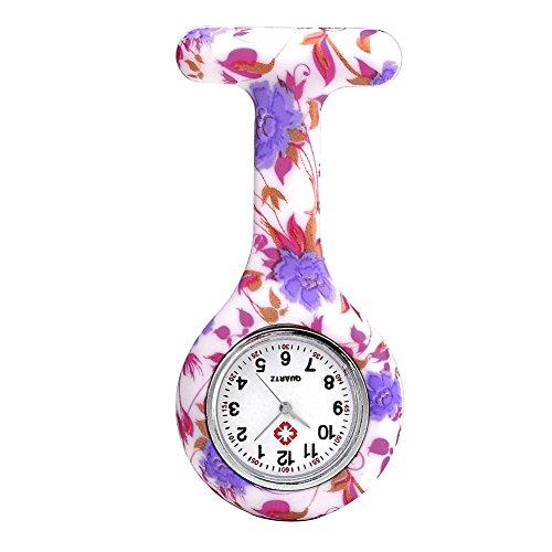 JSDDE Uhren Schwesternuhren Krankenschwesteruhr FOB-Uhr Silikon Hülle Pulsuhr Pflegeuhr Tunika Brosche Taschenuhr Ansteckuhr Analog Quarzuhr (Lila-Rot Blume)