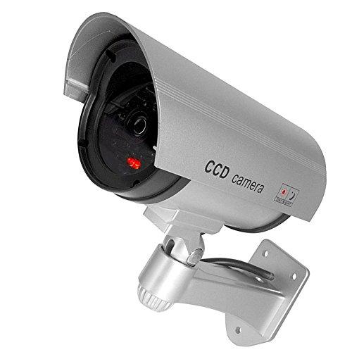 Supmico Silber Dummy Fake LED blinkt ¨¹berwachungskamera CCTV ¨¹berwachung Nachahmung Security Camera Warnung Blinkt