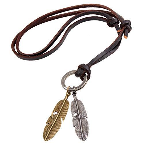 Anhänger Halskette Schmuck Vintage Sweater Chain Herren Unisex Accessoires Geschenke Rindsleder Feder Halskette Leder Seil Anhänger Schmuck