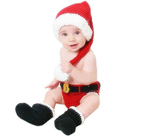DELEY Garçons de Bébé de Photo Accessoires de Cosplay Santa Claus Crochet Tricot Chapeau de Pantalon Bottes Set 0-6 Mois