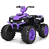 Costzon Ride on ATV, 12V Battery Powered Electric Vehicle w/ LED Lights, High &Low Speed, Horn, Radio, USB, Rear Wheel Motorized Ride on 4 Wheeler Quad Car for Boys Girls (Purple)