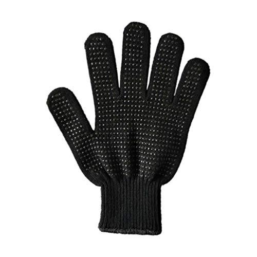Yardwe 2 hitzebeständige Grillhandschuhe rutschfeste Ofenhandschuhe isoliert schnittfest Silikonfaser Handschuhe zum Kochen Backen – 24 cm (schwarz), Silikon, Schwarz , medium 1