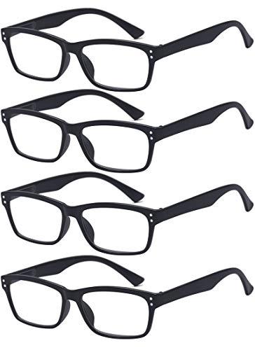 ALWAYSUV 4 Stück Schwarz Federn-Scharnier Lesebrille Klassische Lesehilfen Sehhilfen Brille 4.0