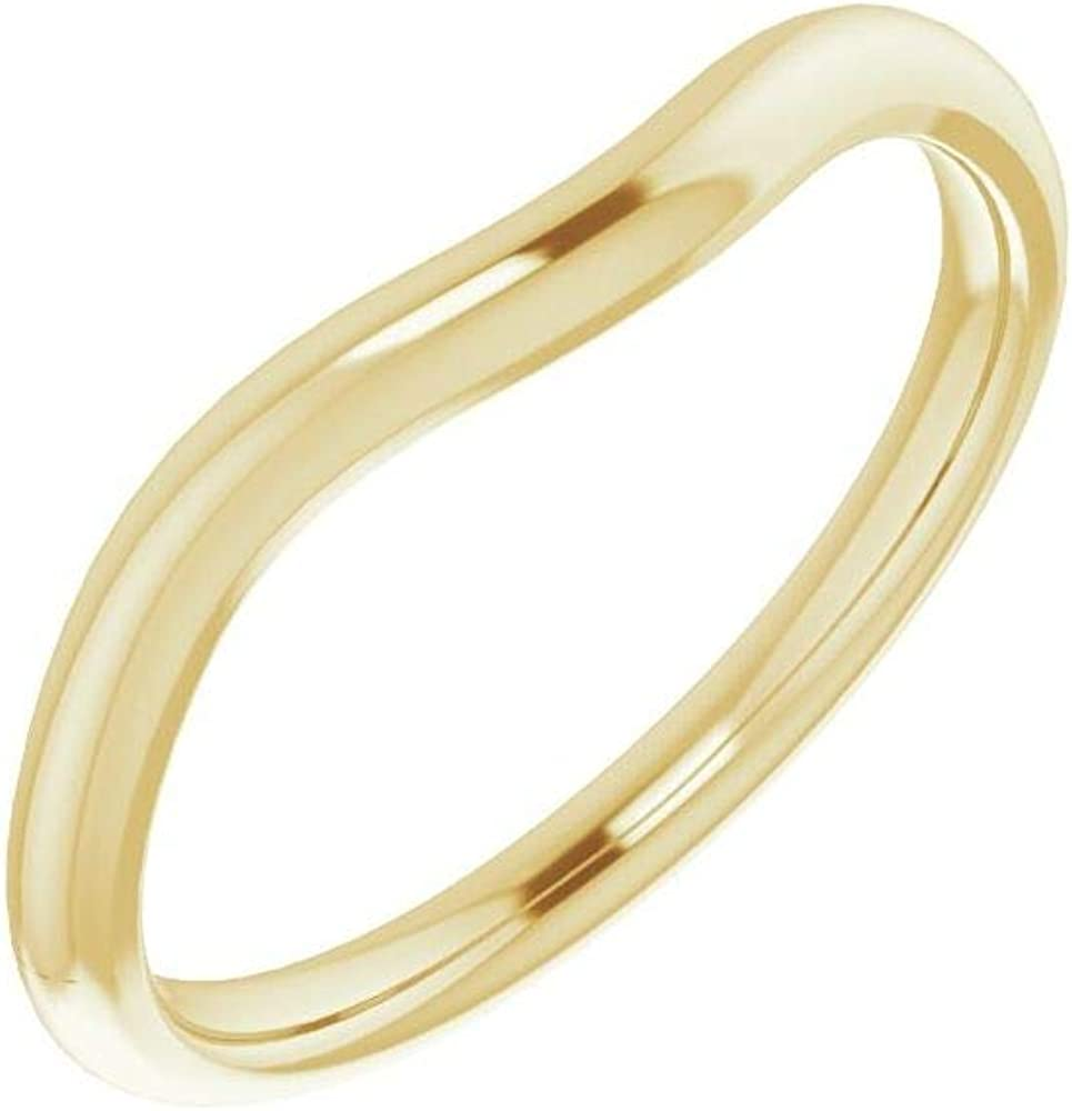 Solid 14K Max 62% OFF Yellow Gold Curved Many popular brands Notched 7mm for Square Band Wedding