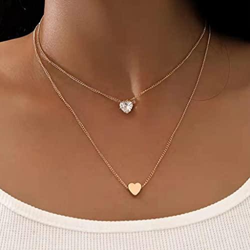 Branets Collar simple con colgante de corazón de doble amor, collar con colgante de cristal dorado, joyería de cadena para mujeres y niñas