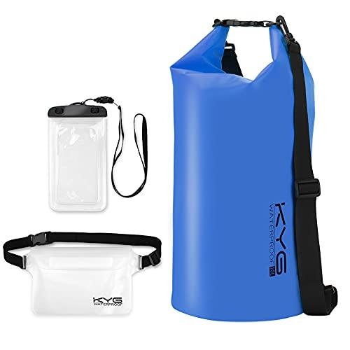 KYG Bolsa Estanca Impermeable 10L Set de Mochila Estanca con Funda de Móvil y Bolsa de Cintura, Bolsa Seca para Playa y Deportes al Aire Kayak Senderismo Esquí Pesca Escalada Camping, Azul
