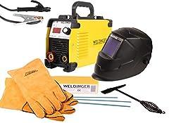 WELDINGER Action Set Inverter Spawalniczy E 181 eco, Automatyczny kask spawalniczy, Asortyment elektrod, Młot żużlowy, Rękawice