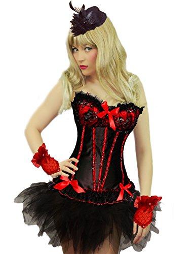 Yummy Bee - Burleske Verstärktes Korsett mit Tutu Rock Karneval Fasching Kostüm Damen Größe 34 - 52 (34-36, Rot+Tutu)