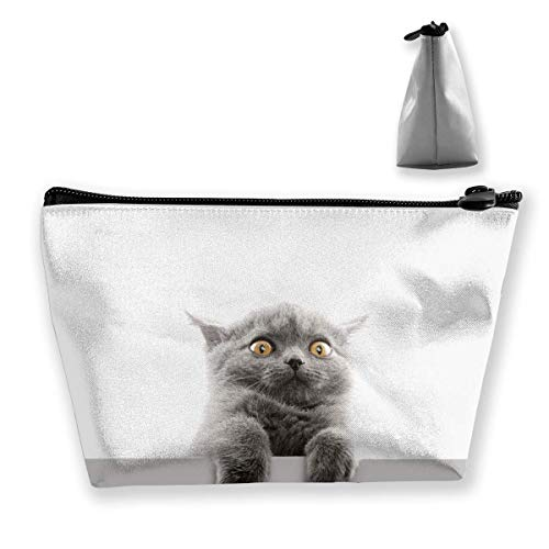 Makeup Bag Trapezoidal Storage Bag Cat Animal Pet Gray Multi-Functional Cosmetic Makeup Cases Travel Toiletry Pouch