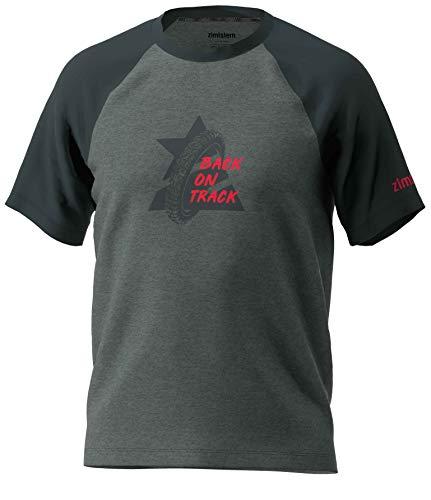 Zimtstern Herren Botz Tee T-Shirt, Gun Metal Melange/Pirate Black, XL