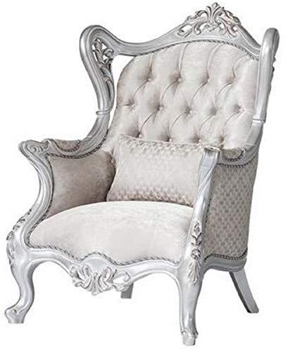 Casa Padrino Luxus Barock Ohrensessel Champagnerfarben/Silber 85 x 80 x H. 120 cm - Prunkvoller Wohnzimmer Sessel mit dekorativem Kissen - Barock Möbel