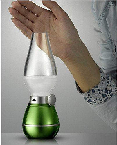 Lampes de Bureau Lampe de Table Soufflage de kérosène Vintage Lampe de Nuit Petites Lampes LED Lampes Mobiles de contrôle de Gradation, Streamer Green Warm White