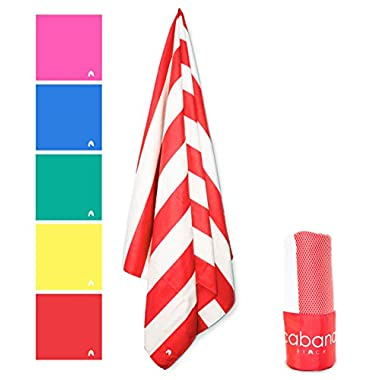Cabana Beach Stripe Collection - The World's Greatest Beach, Pool & Travel Towel. Extra Large, Quick Dry, Sand Proof, Compact & Ultra Absorbent Microfiber Towel. Luxurious Feel & Vibrant Colors