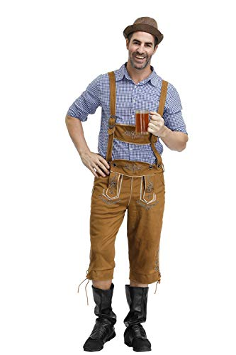 ACHICOO M?nner bayerische Tracht Oktoberfest Plaid Pattern Shirt + Hosentr?ger Hose + Hut Anzug brown L Kreativer Lebensstil