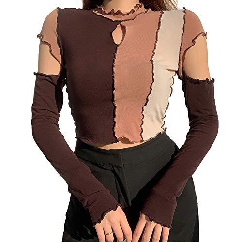 Damen Y2K Mädchen Sexy Hollow Out Block Patchwork Crop Shirt Langarmhemd Bodycon Kurze Oberteile Nachtclub Street Wear (braun, M)