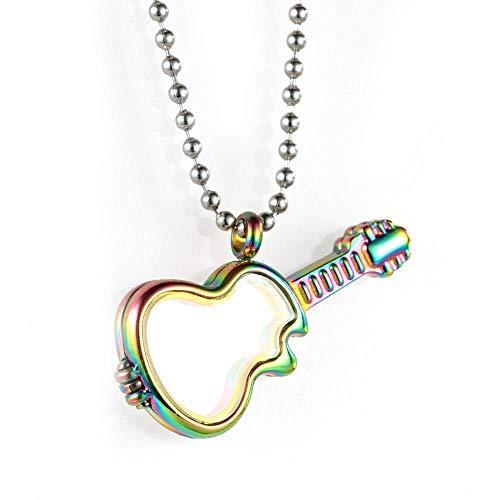Halsketten, Ketten Für Herren,Europäische Und Amerikanische Edelstahl Schmuck Männer Und Frauen Bilderrahmen Halskette Gitarre Glas Anhänger